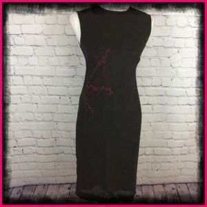 LOFT BLACK DRESS WITH RED EMBROIDERED FLOWER